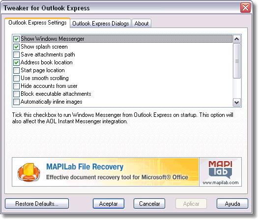 Tweaker for Outlook Express