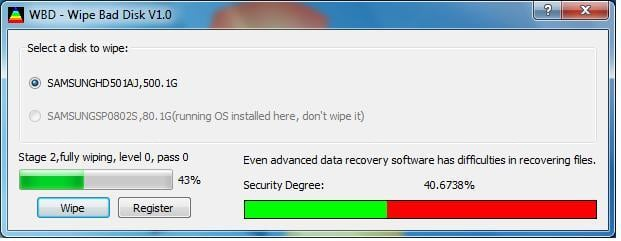 Wipe Bad Disk