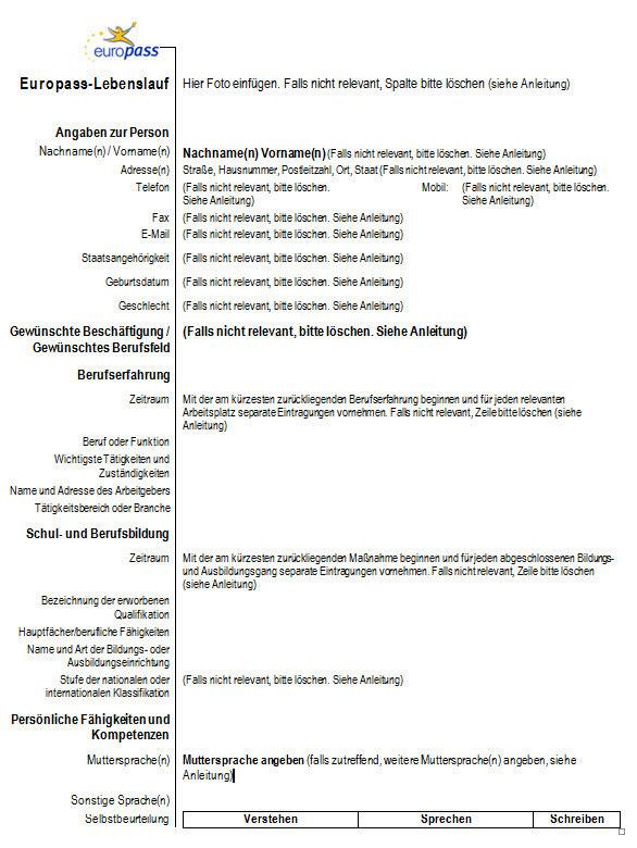 Lebenslauf Europass Download Deutsch Tebuntollwunml