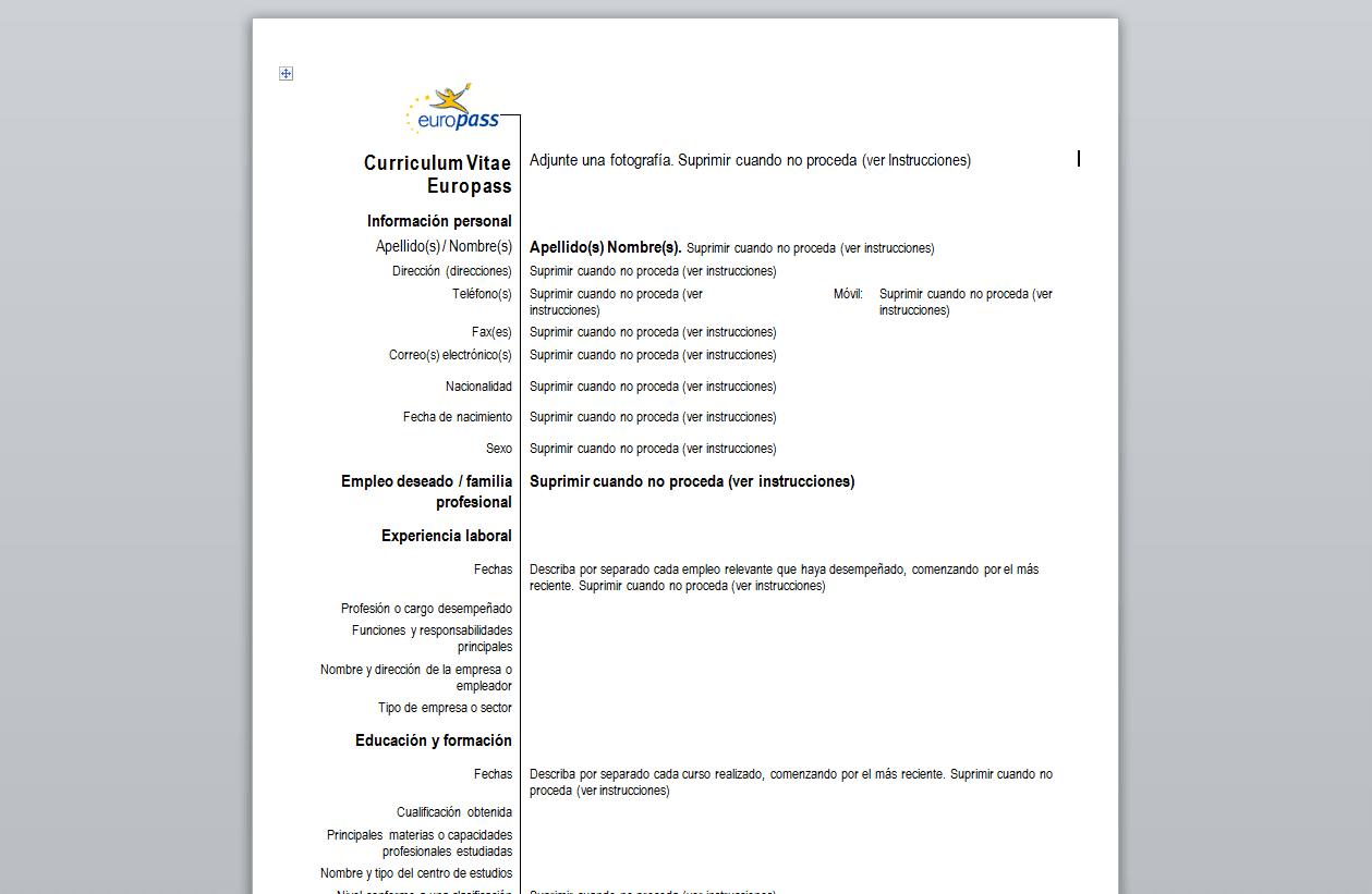 Curriculum Vitae Europeo - Descargar
