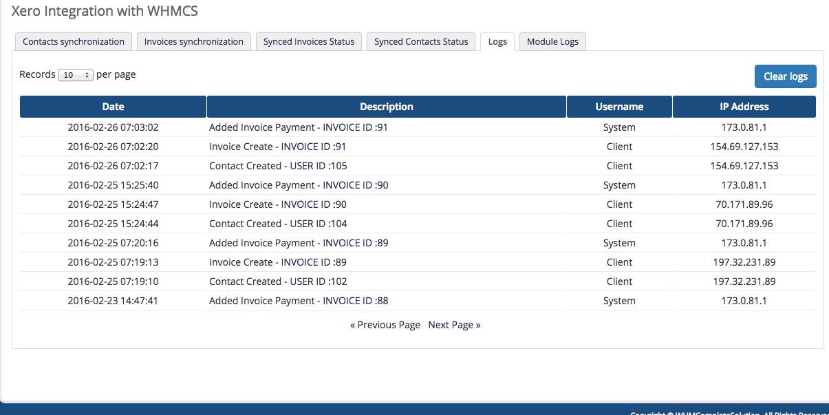 Xero Module for WHMCS