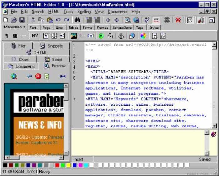 Paraben's HTML Editor