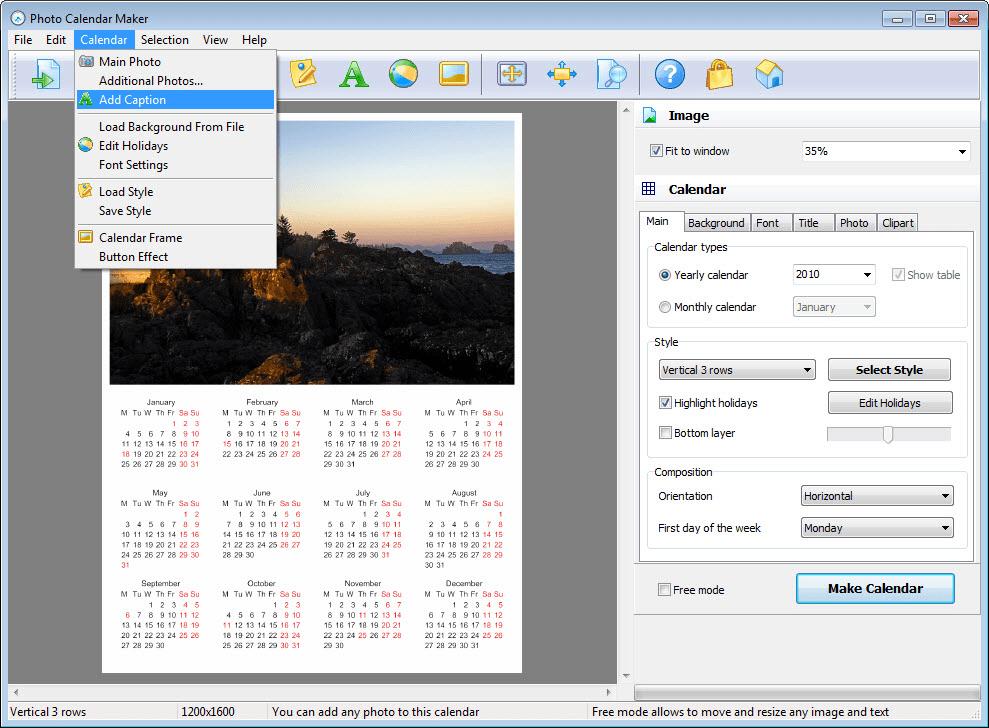 Calendar Planner Maker : Photo calendar maker download