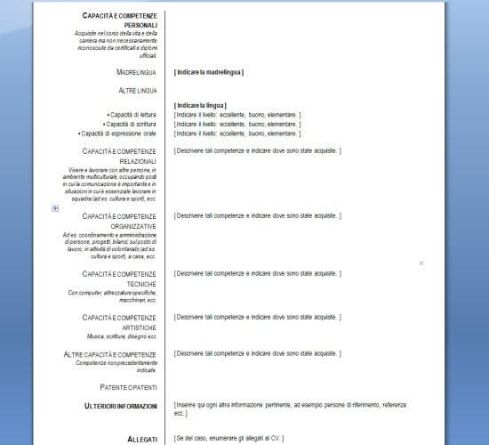 Fac Simile Curriculum Vitae In Lingua Inglese