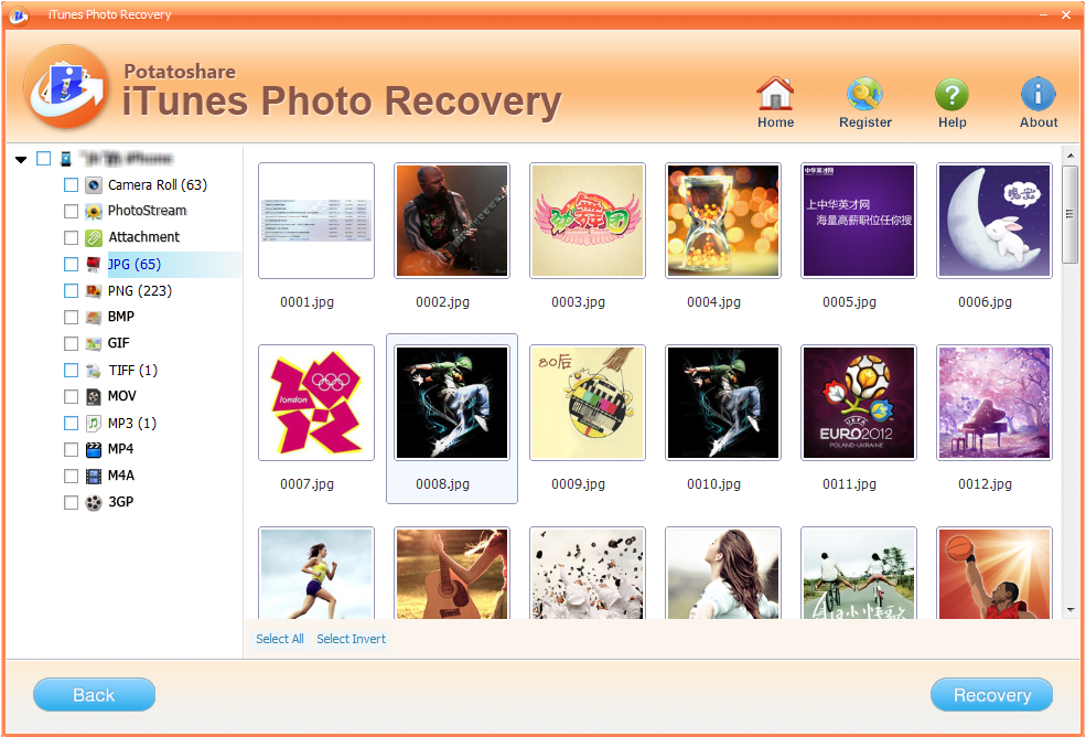 Potatoshare iTunes Photo Recovery