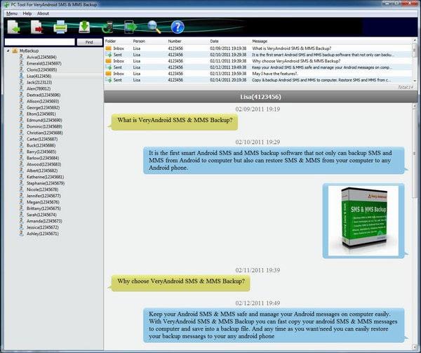 VeryAndroid SMS & MMS Backup
