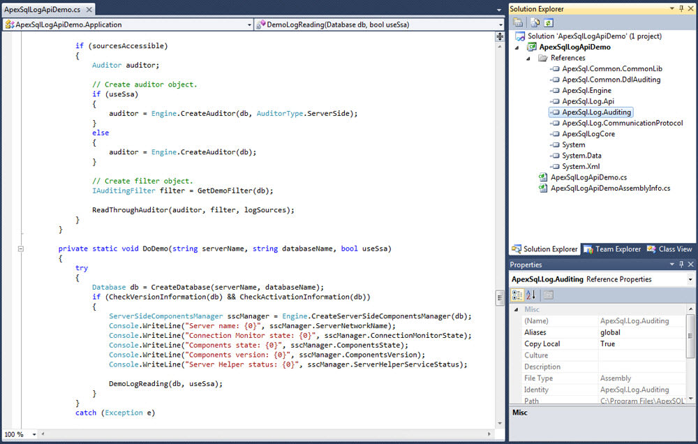 ApexSQL Log API