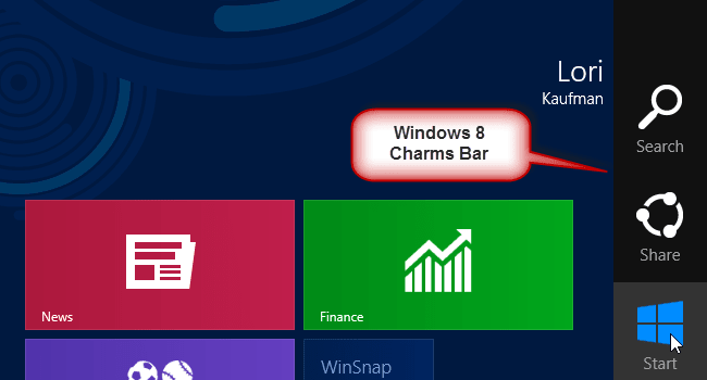 Windows 8 Charms Bar Skin