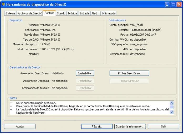 DIRECTX 9 - Herramienta de diagnóstico (DXDIAG.EXE) - Pestaña de pantalla