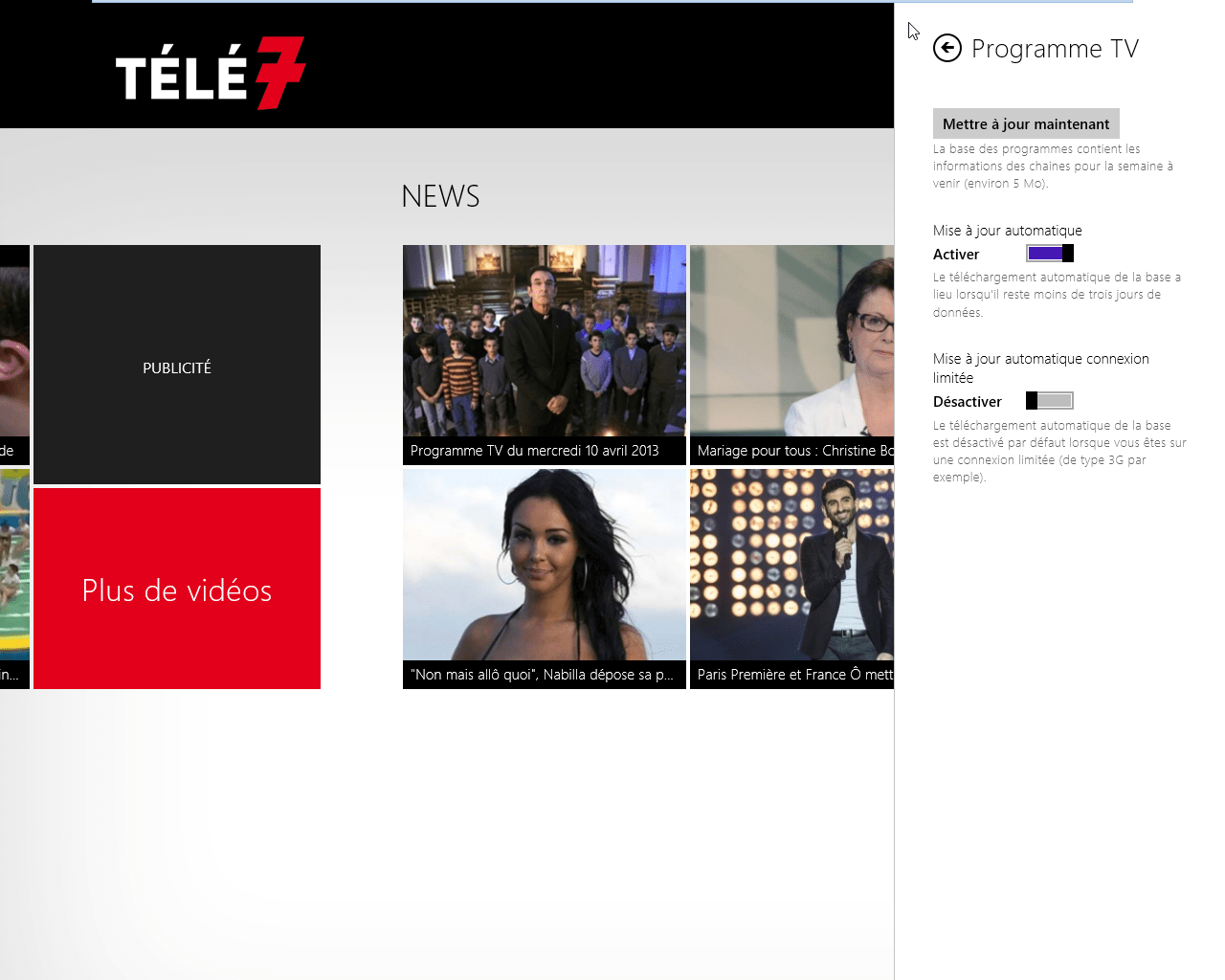Télé 7 Programme TV pour Windows 10