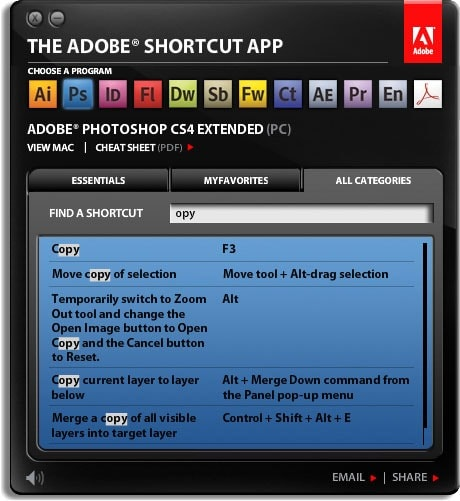Adobe Shortcut