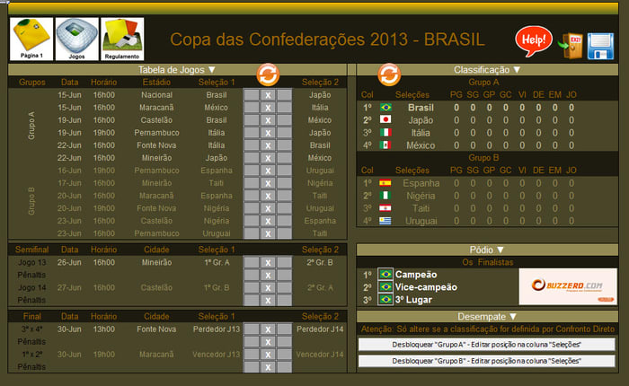 Tabela da Copa das Confederações 2013