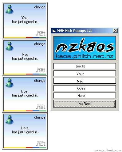 MSN Nick Popups