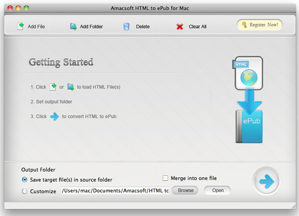 Amacsoft HTML to ePub for Mac