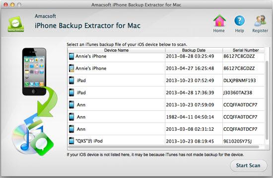 Amacsoft iPhone Backup Extractor Mac