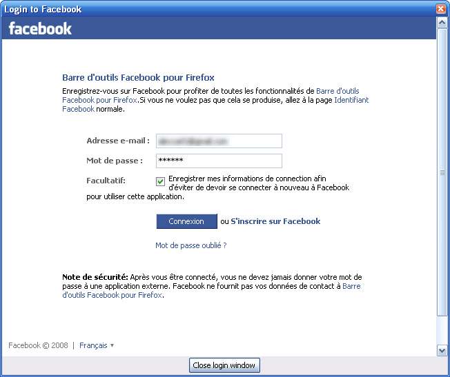 Facebook Toolbar pour Firefox