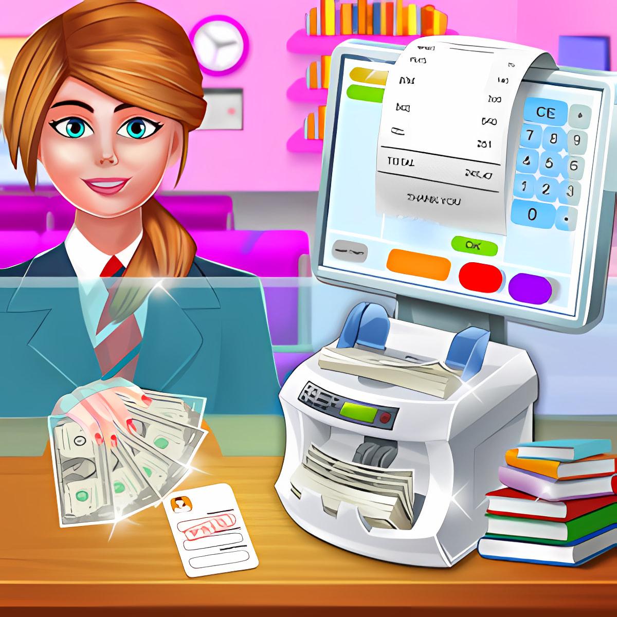 High School Girls ATM Machine Sim Cashier Games 1.0