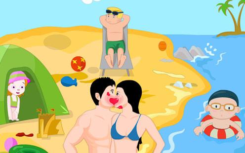 Funny Beach Side Kiss