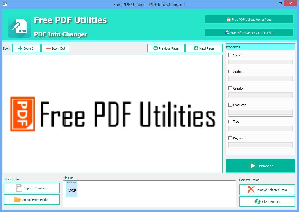 Free PDF Utilities - PDF Info Changer