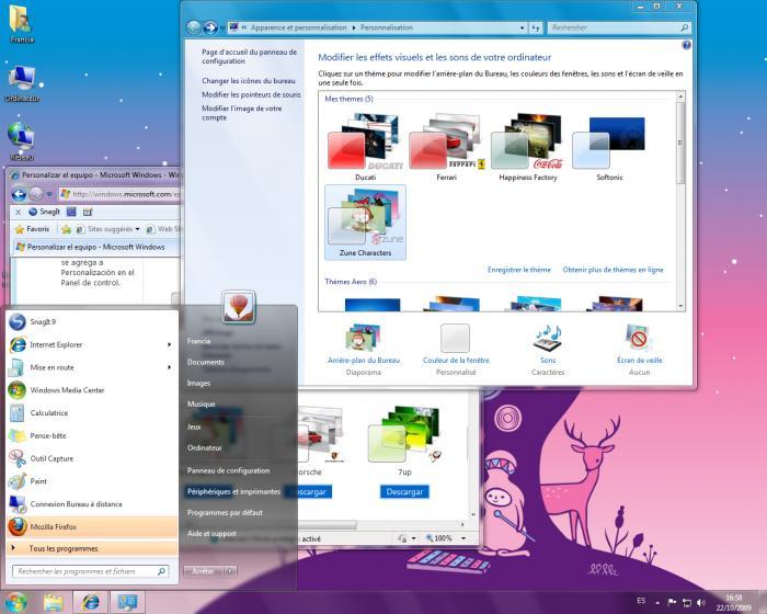 Th me zune pour windows 7 windows t l charger - Performances du bureau pour windows aero ...