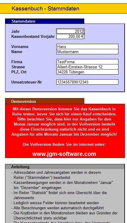 Excel Kassenbuch