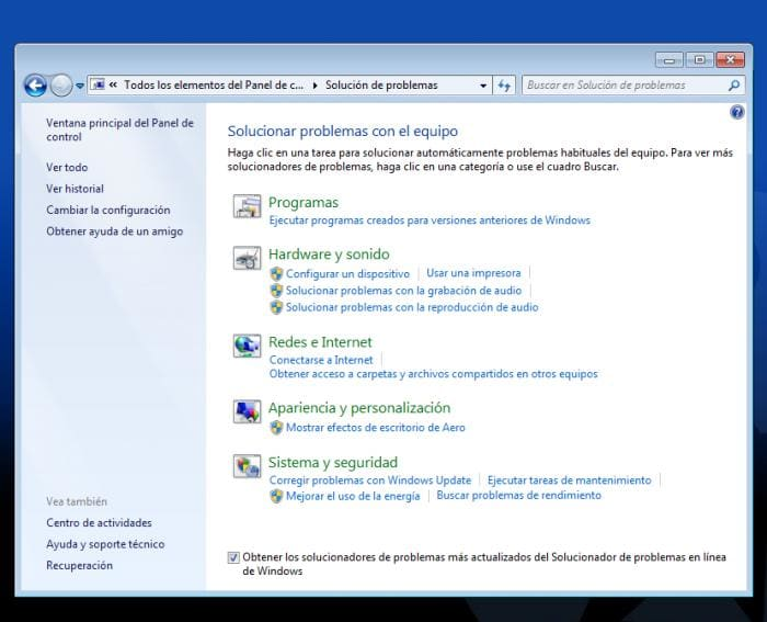 WINDOWS 7 - Solucionador de problemas