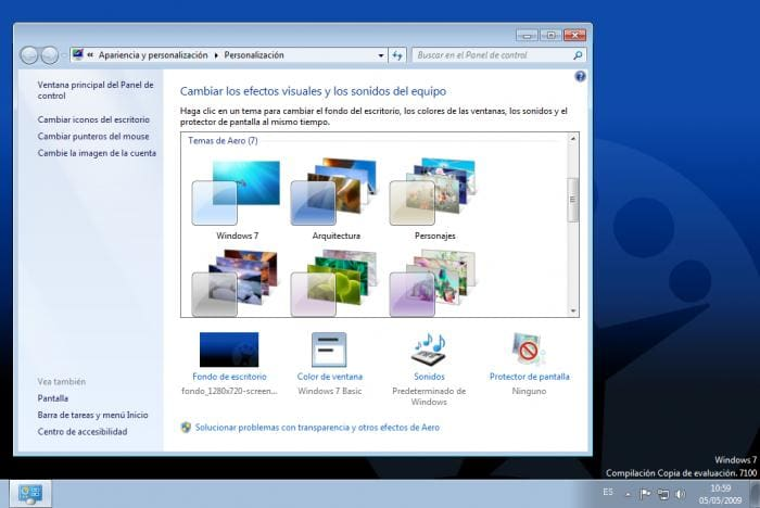 WINDOWS 7 - Panel de control - Personalización