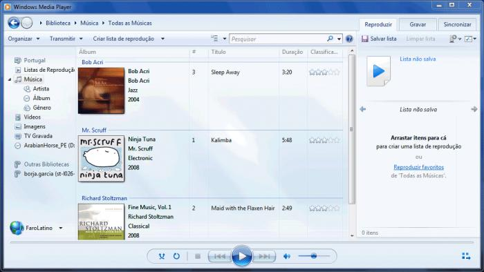 WINDOWS 7 - Tela do Windows Media Player 12