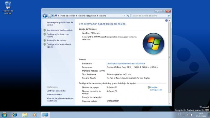 WINDOWS 7 - Panel de control - Sistema