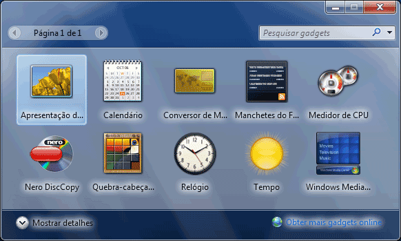 WINDOWS 7 - Lista de widgets