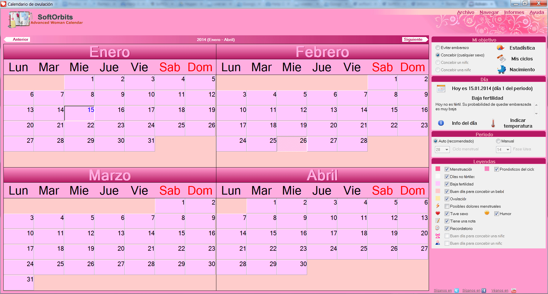 Calendario de ovulación