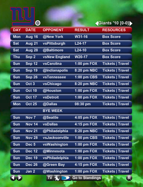 NFL Team Schedule