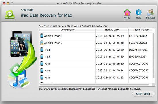 Amacsoft iPad Data Recovery for Mac
