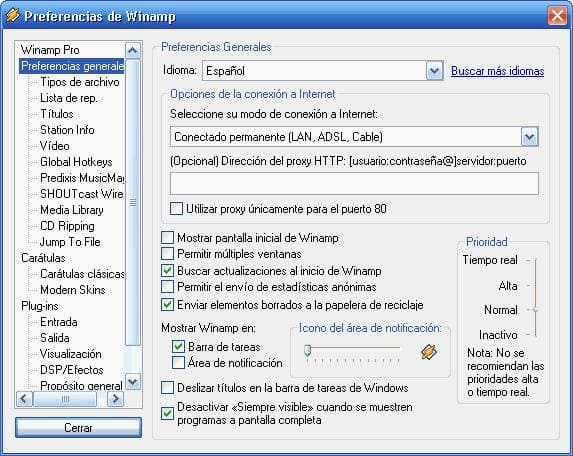 Spanish Language Pack para Winamp