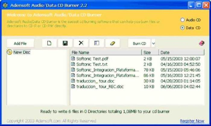 Adensoft Audio/Data CD Burner
