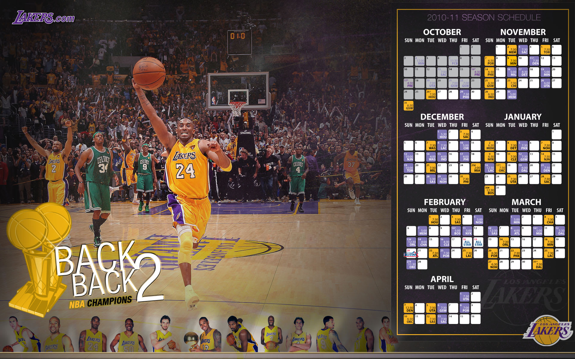 LA Lakers 2010-11 Schedule