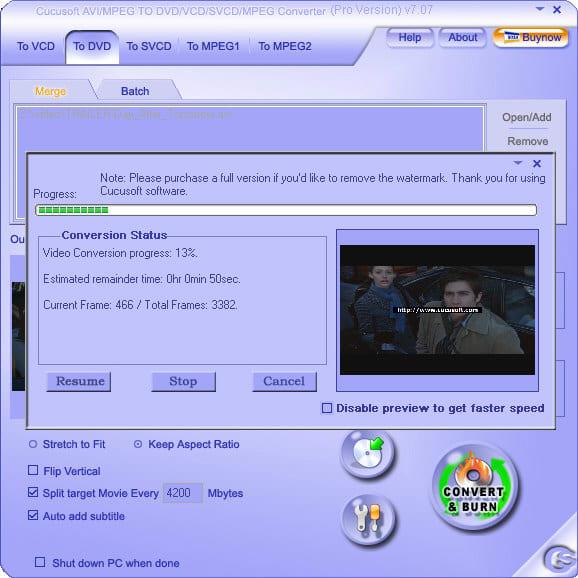 Cucusoft MPEG/MOV/RMVB/DIVX/AVI to DVD/VCD/SVCD
