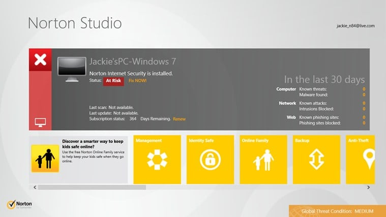 Norton Studio pour Windows 10