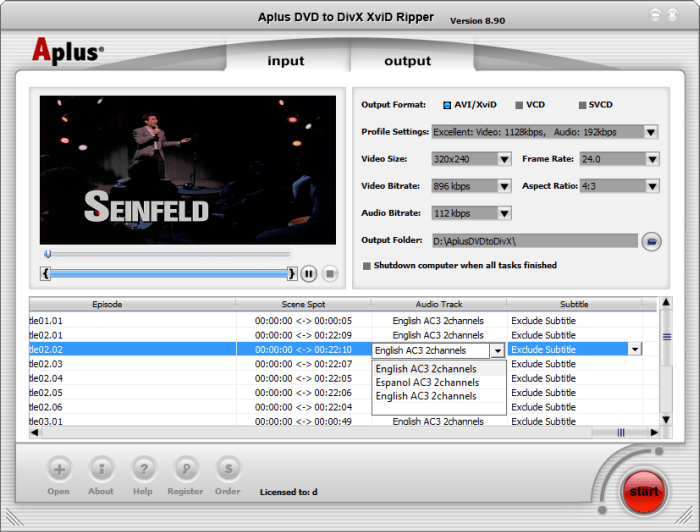 Aplus DVD to Divx Xvid Ripper 8.90