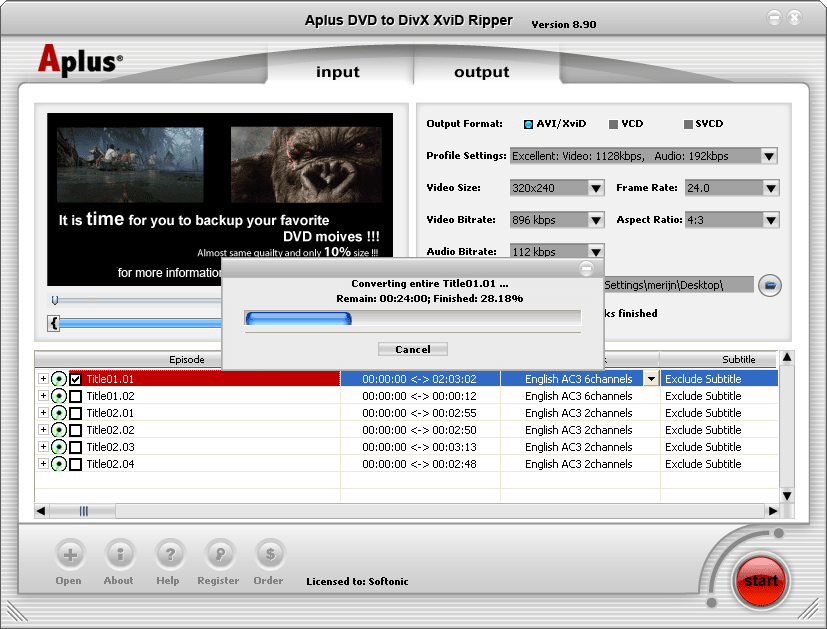Aplus DVD to Divx Xvid Ripper