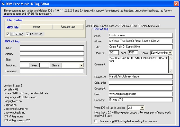 DRM Free Music ID Tag Editor