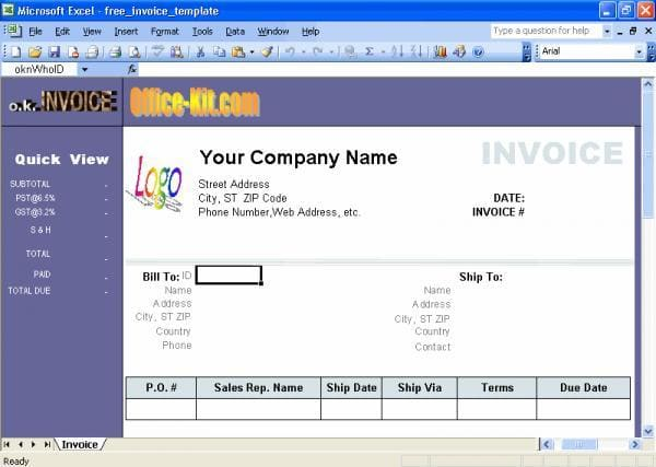 Excel Invoice Template Download - Como hacer un invoice en excel for service business