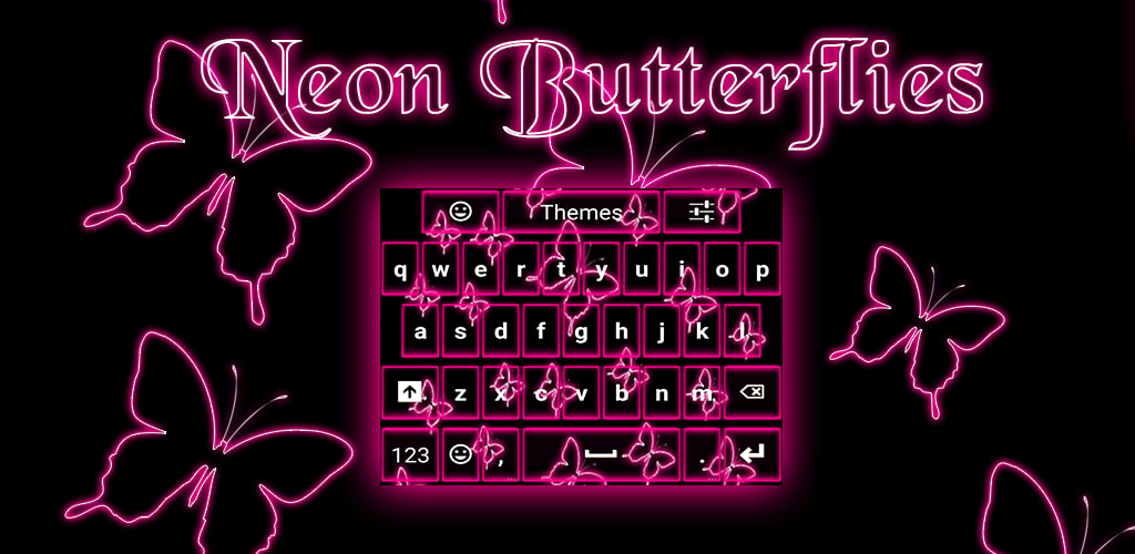 Neon Butterflies Keyboard