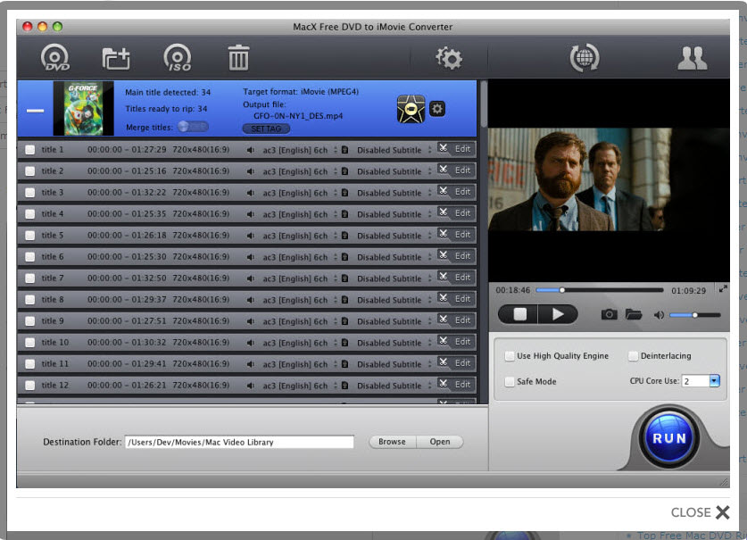 MacX Free DVD to iMovie Converter