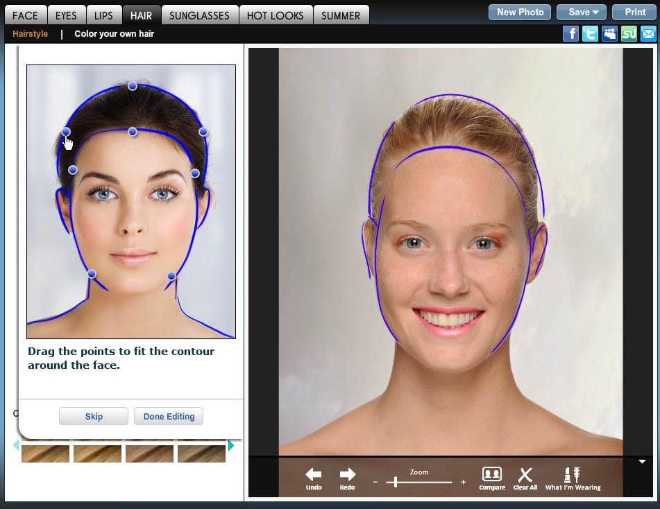 Simulazione taglio di capelli con foto gratis