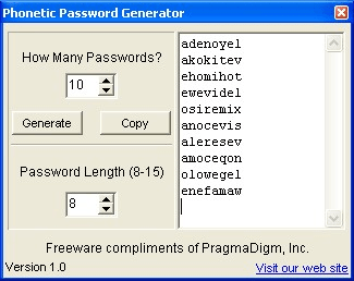 Phonetic Password Generator