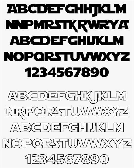 Free STAR WARS fonts collection