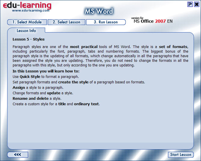 Edu-learning for Word, Excel and PowerPoint 2007