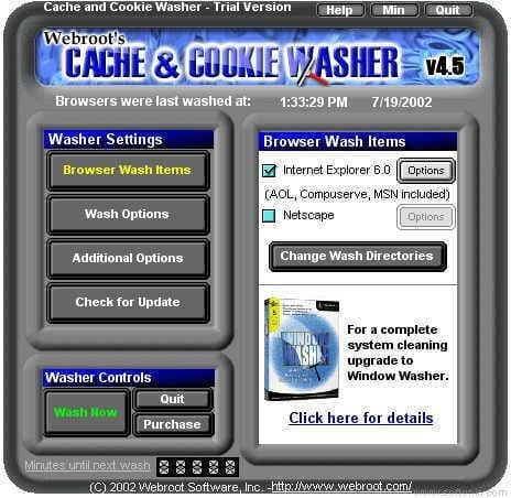 Cache and Cookie Washer