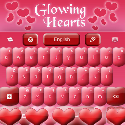 Pink Keyboard Hearts Glow